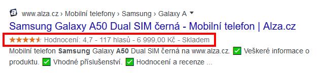 Rich snippets - Samsung Galaxy od Alza.cz